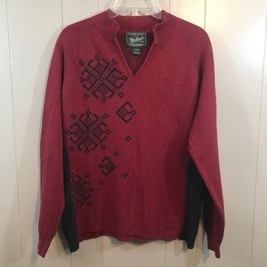 Woolrich Red Gray Tribal V-Neck Cotton Sweater L